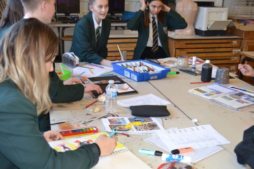 Course work improvement and exam preparation at lunchtime in the Art Department