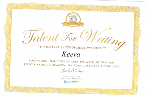Certificate of merit for published Young Writer