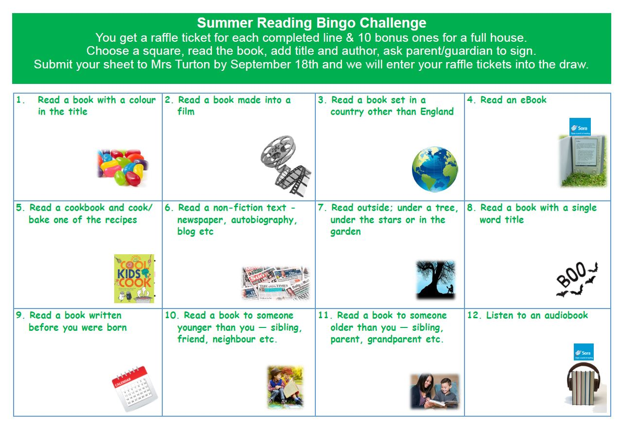 Summer Reading Bingo Challenge!