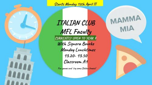 Italian Club Resumes after Easter